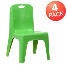 4 Pack Green Plastic Stackable School Chair with Carrying Handle and 11'' Seat Height [4-YU-YCX-011-GREEN-GG]