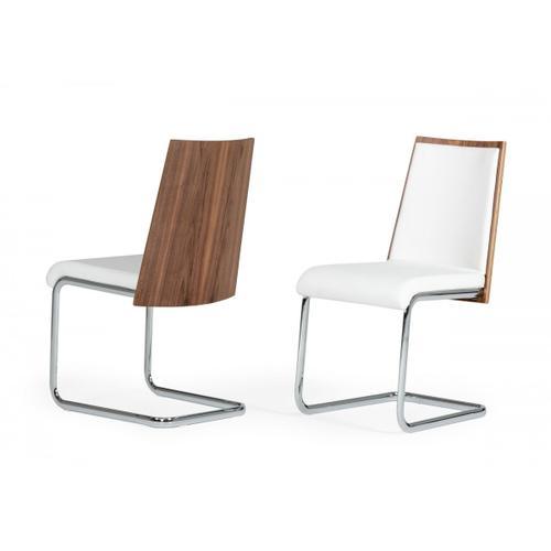 Morgan - Modern White & Walnut Dining Chair (Set of 2)