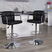 Contemporary Black Quilted Vinyl Adjustable Height Barstool with Arms and Chrome Base