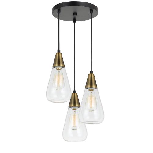 60W X 3 Ellyn Glass Pendant (Edison Bulbs Not included)