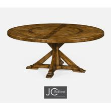 """See Details - 72"""" Country Walnut Round Dining Table with Inbuilt Lazy Susan"""