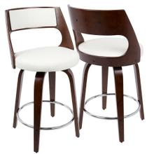 Cecina 24'' Counter Stool - Set Of 2 - Cherry Wood, White Pu, Chrome