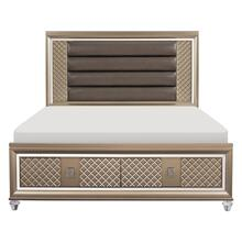 California King Platform Bed with LED Lighting and Storage Footboard
