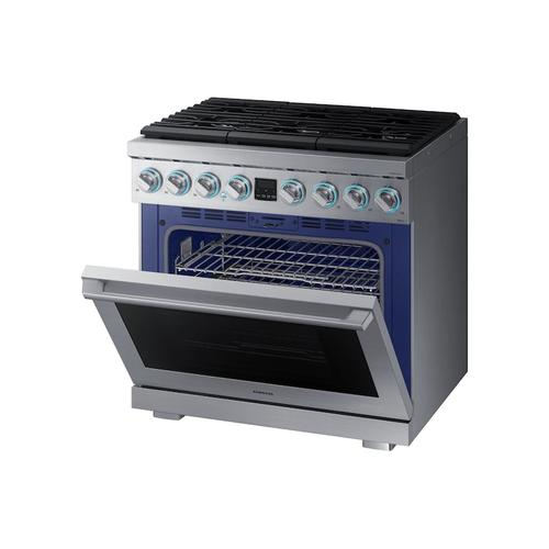 """Samsung - 5.9 cu. ft. 36"""" Chef Collection Professional Gas Range in Stainless Steel"""