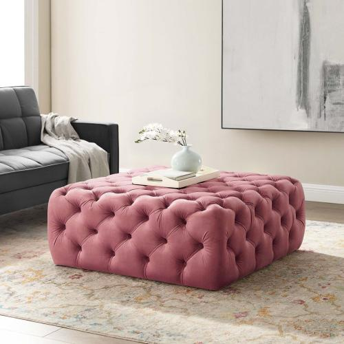 Amour Tufted Button Large Square Performance Velvet Ottoman in Dusty Rose