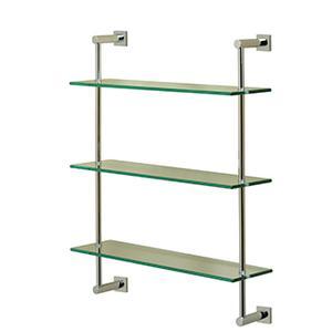 Essentials Wall Mounted Three Tier Glass Shelf With Braga Backplates