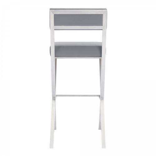 """Bethany Contemporary 28"""" Counter Height Barstool in Brushed Stainless Steel and Grey Faux Leather"""