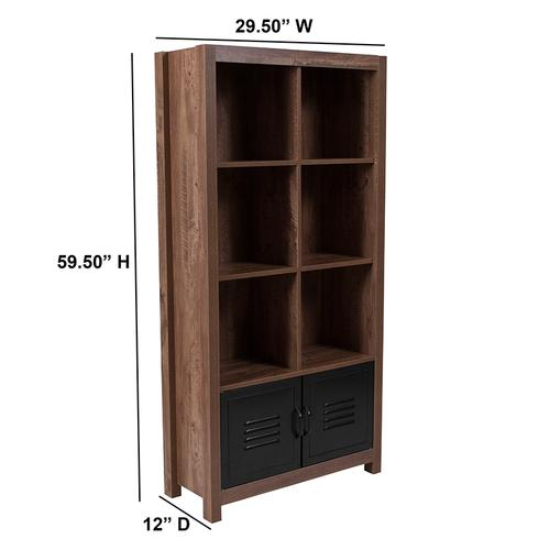 """Flash Furniture - New Lancaster Collection 59.5""""H 6 Cube Storage Organizer Bookcase with Metal Cabinet Doors in Crosscut Oak Wood Grain Finish"""