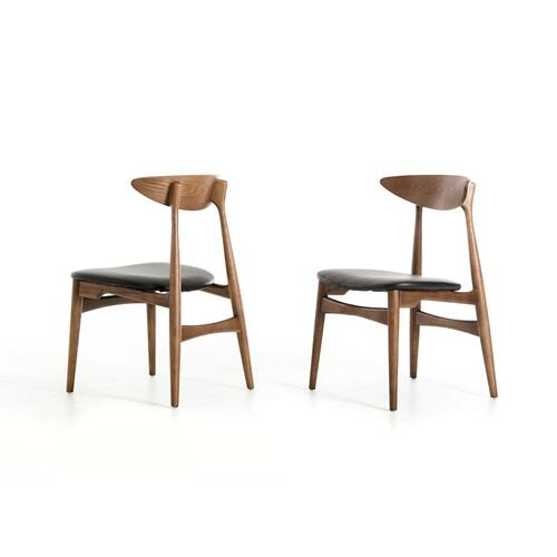 Anson - Modern Walnut and Black Dining Chair (Set of 2)