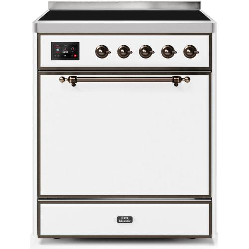Majestic II 30 Inch Electric Freestanding Range in White with Bronze Trim