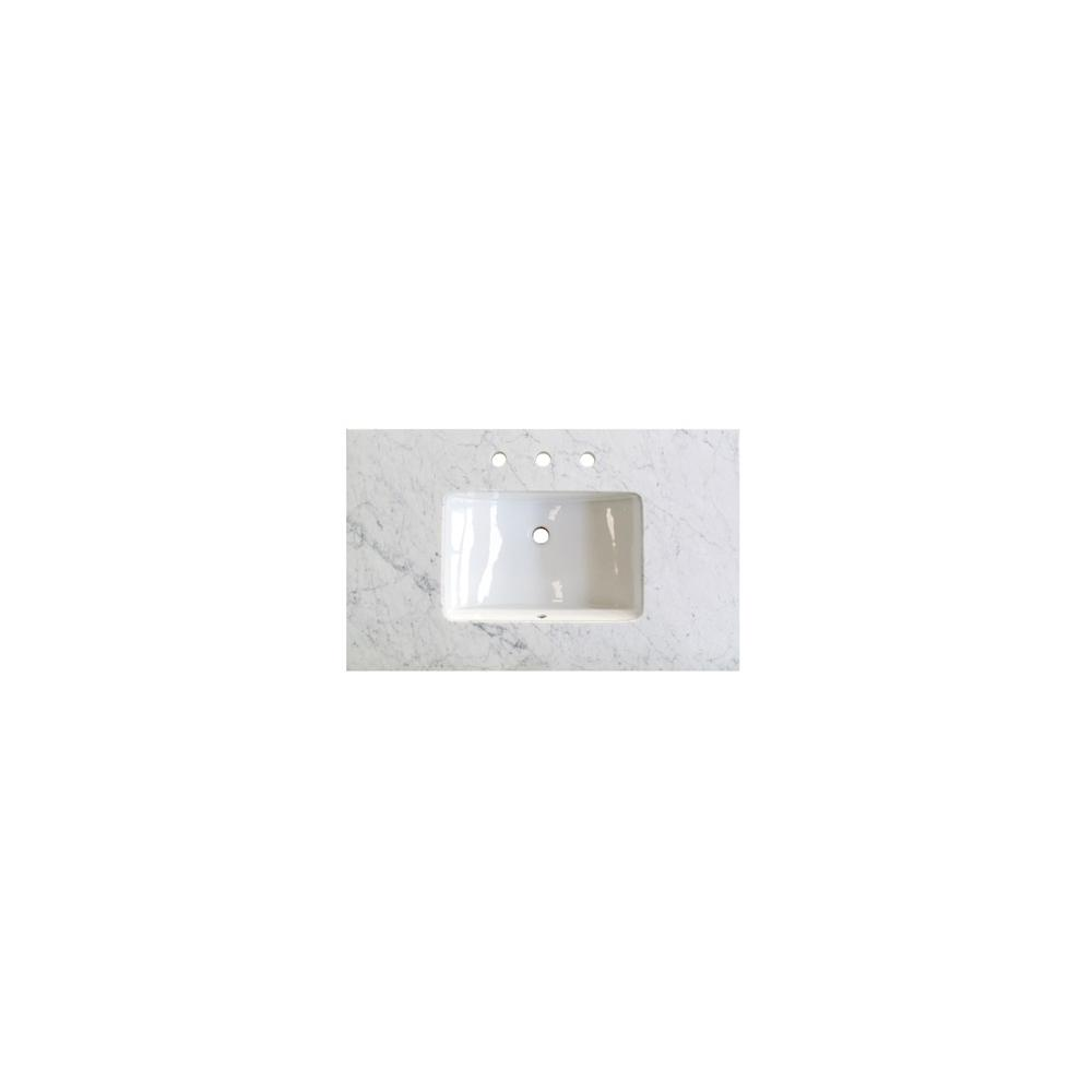 "3cm (1-1/4"") 36"" White Carrera (WC) Marble Top"