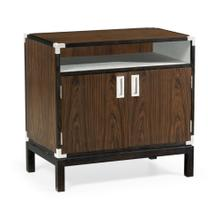 Campaign Style Dark Santos Rosewood Bedside Cabinet