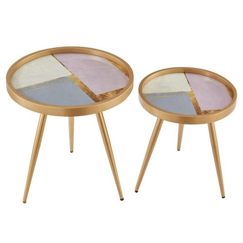 Krista KD Pattern Round End Table Set of 2, Blue and Pink Color Block