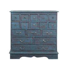 Apothecary Tall 17 Drawers Solid Mahogany Cabinet-Light Blue (41x16.5x41)