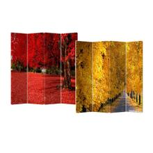 See Details - 4-Panel Double Sided Painted Canvas Room Divider Screen Yellow Red Fall Colors