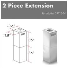 """See Details - ZLINE 2-36"""" Chimney Extensions for 10 ft. to 12 ft. Ceilings (2PCEXT-597i-304)"""