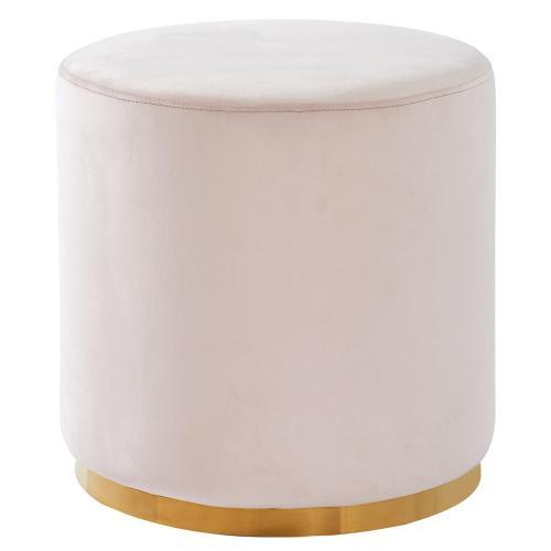 Sonata Round Ottoman in Blush Pink/Gold