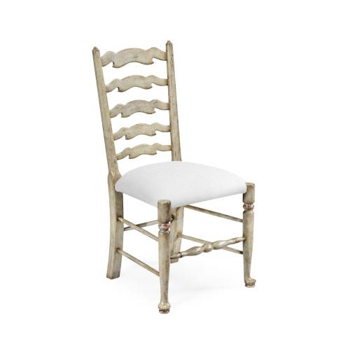 Grey painted ladder back chair (Side)