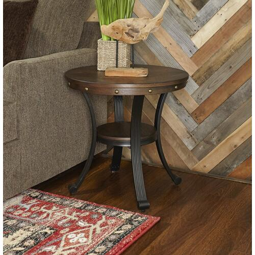 One Small Circular Shelf Side Table, Rustic Umber