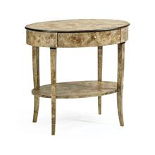 Hamilton Oval Golden Amber Burr Bedside Table