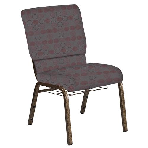 Flash Furniture - 18.5''W Church Chair in Galaxy Taupe Fabric with Book Rack - Gold Vein Frame