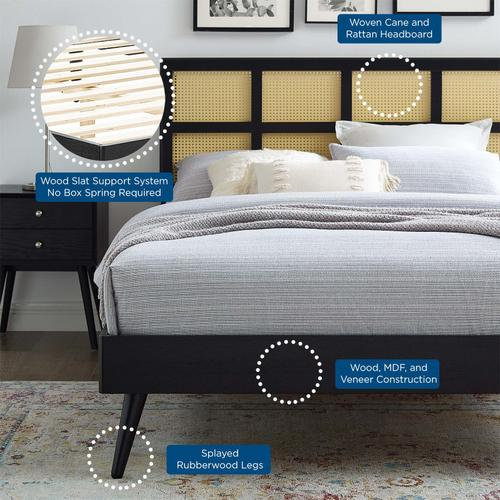 Sidney Cane and Wood Full Platform Bed With Splayed Legs in Black