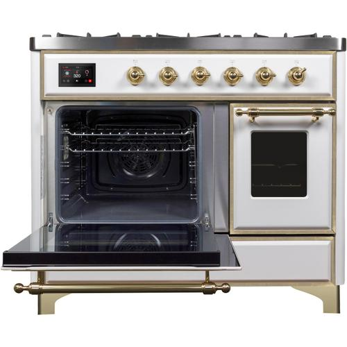 Majestic II 40 Inch Dual Fuel Natural Gas Freestanding Range in White with Brass Trim