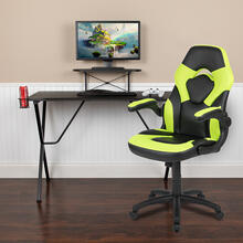 Black Gaming Desk and Green\/Black Racing Chair Set with Cup Holder, Headphone Hook, and Monitor\/Smartphone Stand