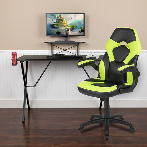 Gallery - Black Gaming Desk and Green\/Black Racing Chair Set with Cup Holder, Headphone Hook, and Monitor\/Smartphone Stand