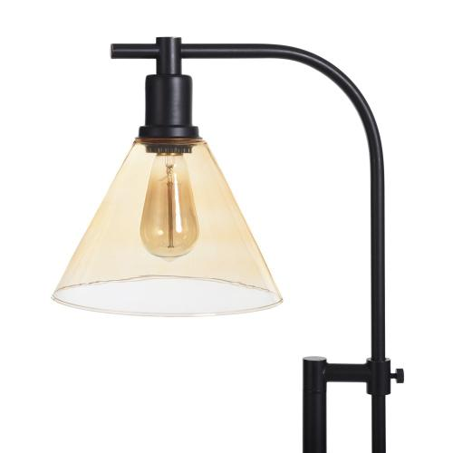 Style Craft - Madison Bronze  Adjustable Height Task Floor Lamp with Glass Shade  Edison Bulb Included