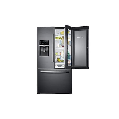 Samsung - 28 cu. ft. Food Showcase 3-Door French Door Refrigerator in Black Stainless Steel