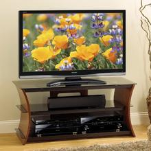See Details - CW345 Rich Caramel Finish Curved Wood Audio/Video for most Flat Panel TVs up to 52 inches from Bell'O International Corp.