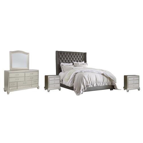 King Upholstered Bed With Mirrored Dresser and 2 Nightstands