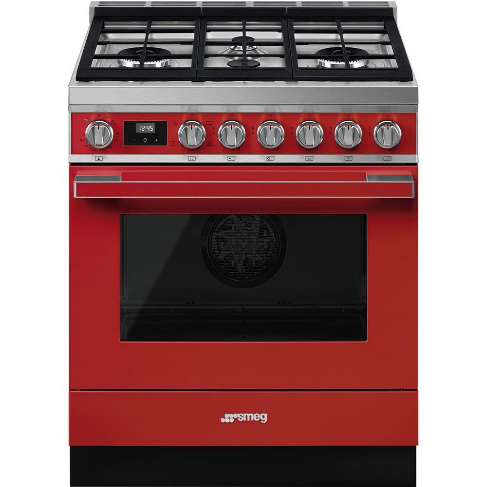 """SmegPortofino Pro-Style All-Gas Range, Red, 30"""" X 25"""""""