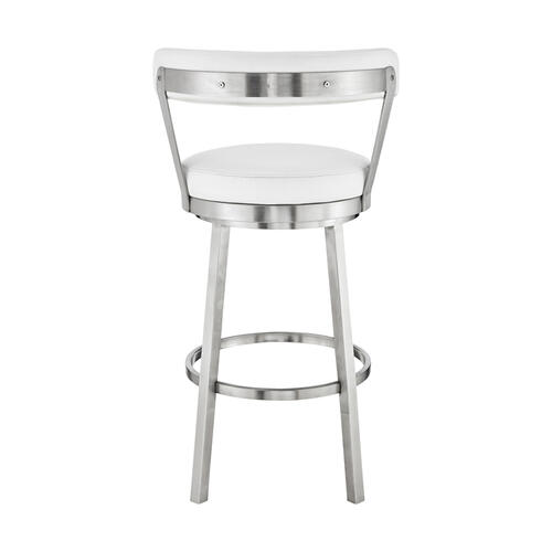"""Bryant 26"""" White Faux Leather and Brushed Stainless Steel Swivel Bar Stool"""