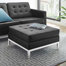 Loft Tufted Upholstered Faux Leather Ottoman in Silver Black