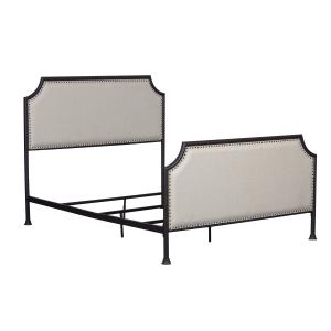 Industrial Clipped Corner Upholstered Panel Queen Metal Bed