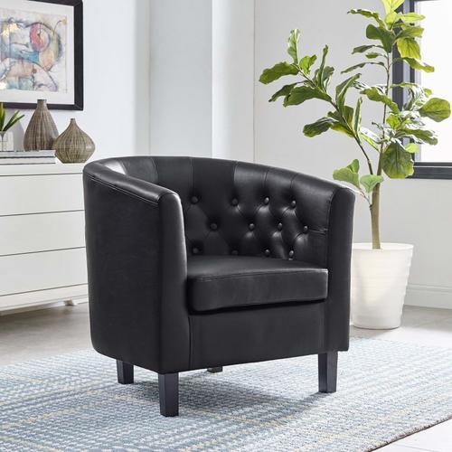 Modway - Prospect Upholstered Vinyl Armchair in Black