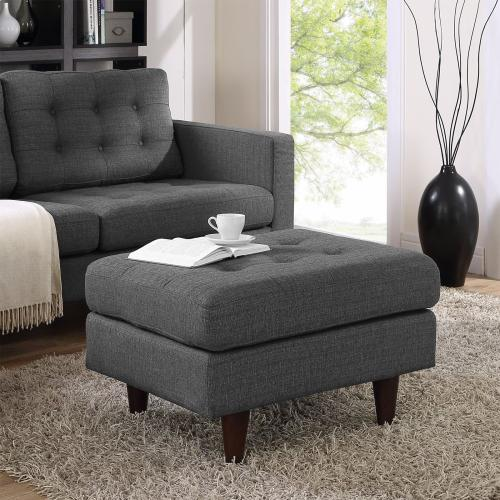 Modway - Empress Upholstered Fabric Ottoman in Gray