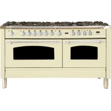 Nostalgie 60 Inch Dual Fuel Natural Gas Freestanding Range in Antique White with Chrome Trim