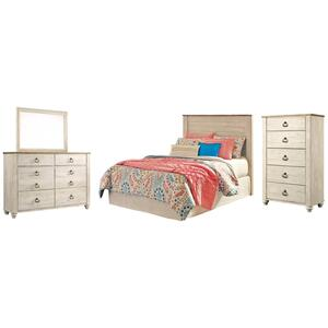 Full Panel Headboard With Mirrored Dresser and Chest
