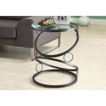 ACCENT TABLE - MATTE BLACK METAL WITH TEMPERED GLASS