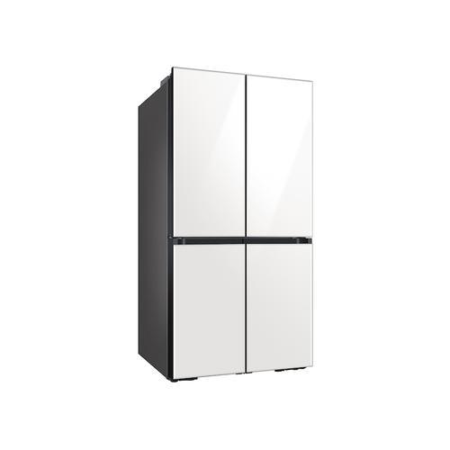 Samsung - 23 cu. ft. Smart Counter Depth BESPOKE 4-Door Flex™ Refrigerator with Customizable Panel Colors in White Glass