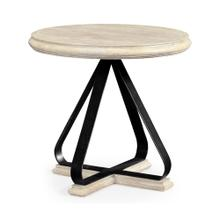 Round Side Table with Iron Base in Limed Acacia