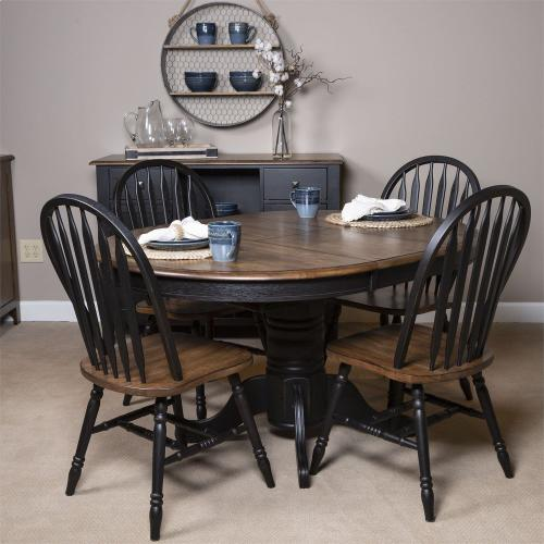5 Piece Pedestal Table Set- Black