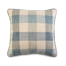 Decorative Throw Pillow with a Blue Plaid Pattern