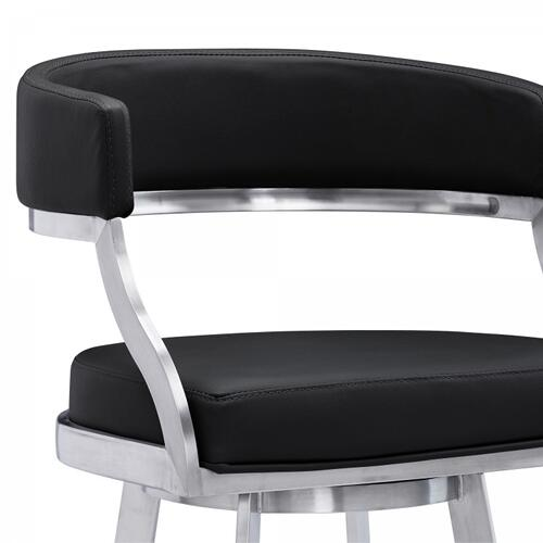 "Saturn Contemporary 26"" Counter Height Barstool in Brushed Stainless Steel Finish and Black Faux Leather"