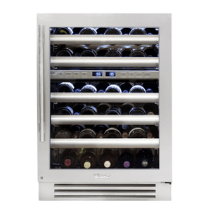 True Residential24 Inch Dual Zone Stainless Glass Door Right Hinge Undercounter Wine Cabinet