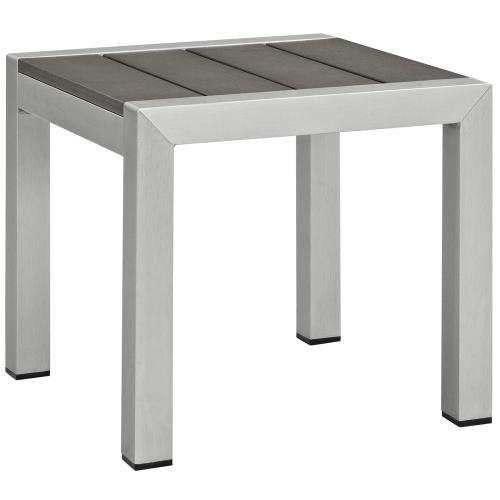 Shore 3 Piece Outdoor Patio Aluminum Set in Silver Beige