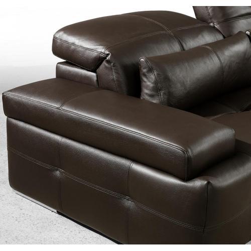 Divani Casa Sorrento Modern Chocolate Brown Sectional Sofa